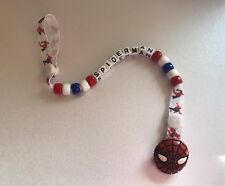 PERSONALISED SPIDERMAN Dummy / Soother Pacifier Clip ~ Super Hero ~ NEW ~