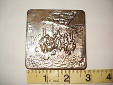 61g Sterling Silver 925 s Card / Cigarette Box Party Drinking Scene.