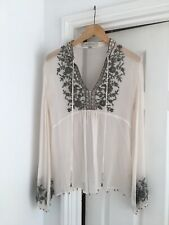 Gerard Darel silk boho emboidered blouse 38 Uk 8 10