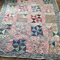 Vintage Quilt Square W Diamond Pattern 72 X 81 Double Sided Pink