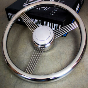 """14"""" Stainless Steel String Banjo Steering Wheel With Horn Button Classic Vintage"""