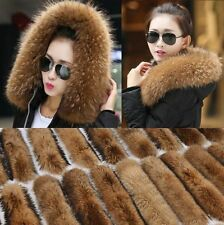 Real fur collar 100% genuine raccoon fur scarf trim for jacket 70cm UK SELLER!!!