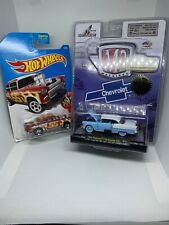 M2 Machines Blue 1957 Chevrolet Bel Air & Hot Wheels Flames 55 Chevy Gassers