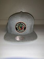 Chicago Blackhawks Mitchell And Ness Snapback Hat Gray Vintage Style Clean EUC