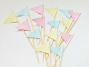 Pink Green Yellow Cupcake Picks Embellishments Cake Toppers Flags Baking Crafts