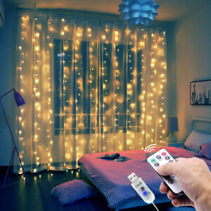LED Fairy String Lights Window Curtain Wedding Decor USB Remote In/Outdoor