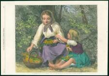 1883 antique FINE ART PRINT-Im Walde artiste William Dobson woman child (127)