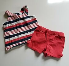 Crazy 8 3 year Goldfish line outfit GUC super cute red blue white July 4th