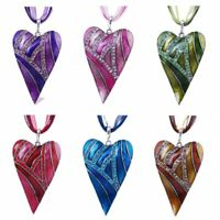 Fashion Crystal Heart Leaf Lampwork Glass Pendant Necklace Sweater Chain Gift