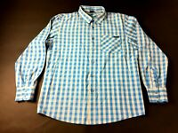 Oakley Mens Blue Plaid Front Pocket Long Sleeve Button Front Shirt Size Medium