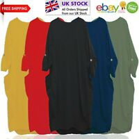 Women's Dress Italian Style Baggy Pockets Turn Up Sleeve Party Top One Size 8-24