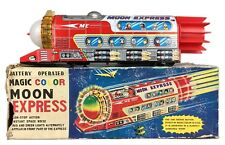 TPS -MAGIC COLOR MOON EXPRESS- JAPANESE BATTERY OPERATED TIN ROCKET TRAIN BUS