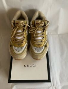 GUCCI Yellow Multicoloured Ultrapace Glitter Sneakers Gold US 7