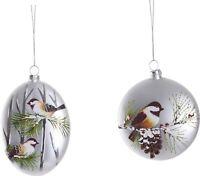 Glass Winter Bird Pine-cone Ornament Set of 2 Chickadee Winter Snow Red Berries