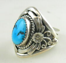 Sterling Silver 925 Men TURQUOISE RING size 12~Navajo Signed SC Sharon Cisco TO6
