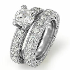 Round Cubic Zirconia Bridal Set Wedding Engagement Ring Sterling 925 Silver Sz 8