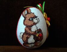 UNIQUE EASTER HAND MADE EMBROIDERY RABBIT ORNAMENTS RIBBON EGG