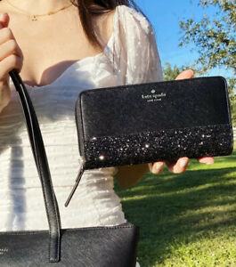 Kate Spade Greta Court Large Continental Zip Around Wallet Black Glitter