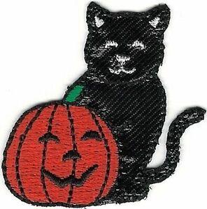 "1 3/4 "" Citrouille Jack-O-Lantern Noir Chat Halloween Broderie Patch"