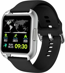 Smart Watch Compatible With IOS Android Phones Waterproof Activity Track (Black)