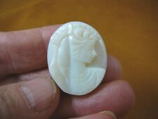 O-216) White green orange flash solid opal carved Woman cameo unmounted jewelry