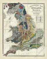 antique Victorian geological map England Wales Ravenstein 1865 art print poster