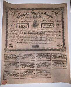 1863 $1000 7% 5 Year Confederate CSA War Bond
