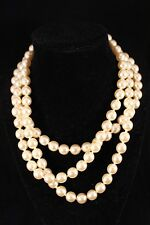 Kenneth Jay Lane 22k  Gold Plated Initial Clasp Three Strand Faux Pearl Choker