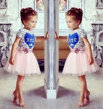 Fancy Girls Short Sleeve Striped Blue Love Tops Pink Tutu Tulle Kids Party Dress
