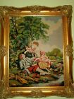 Antique Victorian Era Fine Needlepoint Tapestry in Elegant Gold Plated Frame