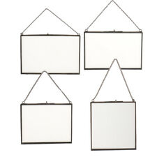 4 Size Metal Chain Wall Hanging Glass Double Side Photo Picture Frame
