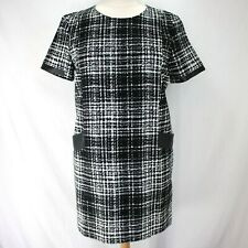 Banana Republic Dress Sz 14 Black White Short Sleeve Faux Leather Trim