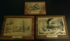 Lot 3 Currier & Ives Litho Trophies Company Awards Vintage Buxton Lithograph art