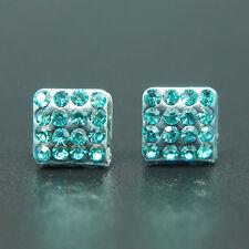 14k White Gold Plated Swarovski Crystals Men Women Blue Stud Earrings