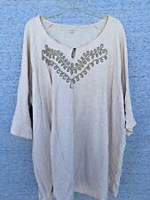 SALE @ CATHERINE'S Off White Scroll Top Shirt Blouse Sz 3X 26W 28W 26 28 ❤️tb9j1