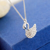 18K White Gold Filled Elegant Crystal Swan Pendant Charm Necklace Women Girls
