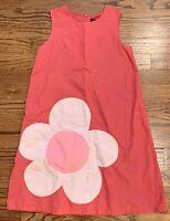 Mini Boden Girls Dress Pink Flower Appliqué Sleeveless A-line Size 9-10 Yrs