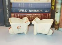 Vtg Shawnee Pottery Ceramic Flower Wheelbarrow Planters USA 515 Pair Set of Two