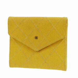 CHANEL CC Used Bicolore Coin Case Yellow Leather Vintage France Auth #AC619 S