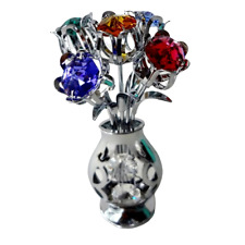 Crystocraft Vase Of Flowers Crystal Ornament With Swarovski Elements Gift Boxed