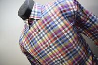 40930 Mens Visconti Black Designer Plaid Long Sleeve Dress Shirt Size Medium