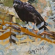 """Crows in Blue"" Mixed Media Acrylic Original Painting 10""x10"""