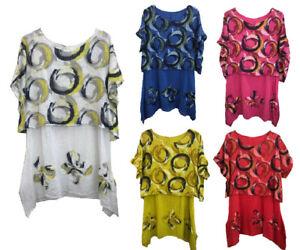 Ladies Italian Floral Linen Baggy Top Tunic Women Summer Lagenlook Top Plus Size