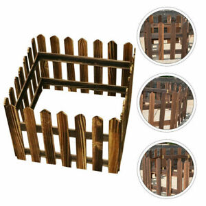 """11.8"""" x 47.2"""" Wood Color Picket Fence House Garden Christmas Tree Decor"""