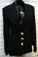 GF FERRE Donna Taglia 44 Giacca Nera Cappotto Lana Blazer Jacket Women Black