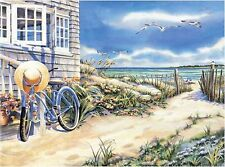 BEACH HOUSE SEAGULLS OCEAN    MOUSE PAD  IMAGE FABRIC TOP RUBBER BACKED