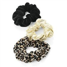 3pc SET OF SMALL SCRUNCHIE HAIR ELASTICS BANDS LEOPARD PRINT BLACK GOLD SHIMMER