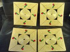 Vintage Woven 7 inch Straw Hot Pad Trivet Coaster - set of 4