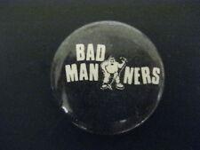 Bad Manners-Black-Ska-Pin-Bad ge-Button-80's Vintage-Rare