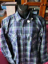 mens long sleeve shirt. by classics NWT size m to fit chest 95cm  blue plaid